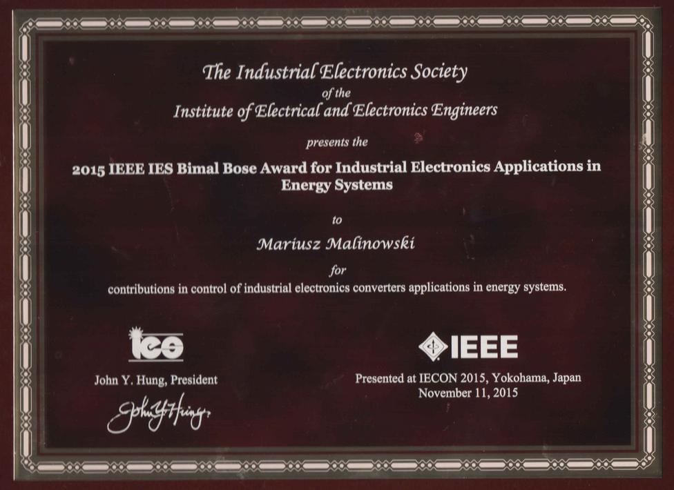 IEEE_IES_BimalBoseAward_MariuszMalinowski